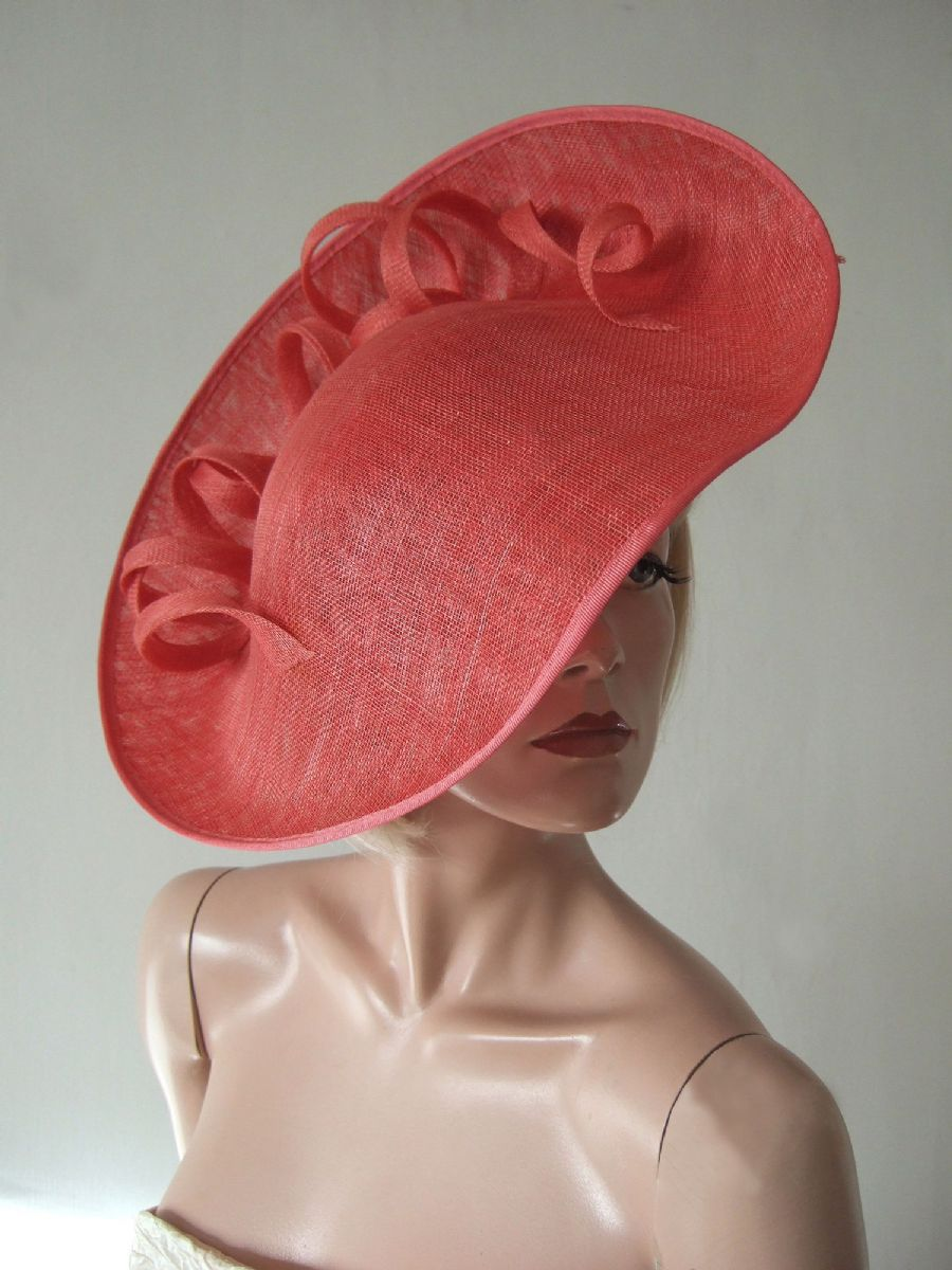 Coral Fascinator  Handmade Saucer Hat Hatinator with Swirls for Wedding, Royal Ascot Designer Hat. Garden Party, Coral Kentucky Derby Hat, Coral Mother of the Bride Hat.